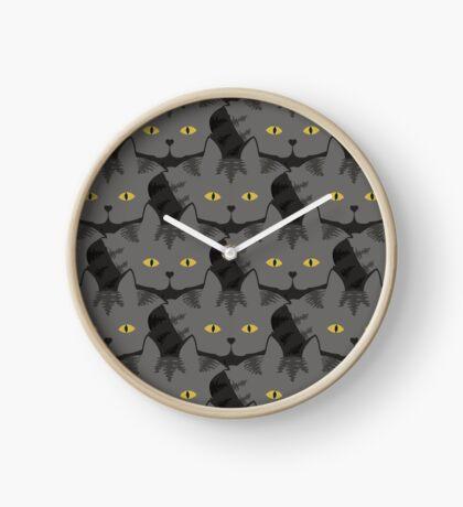 Grey #03  Tabby Cat Cattern [Cat Pattern] Clock