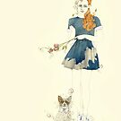 Blue dress with jackhuahua by Jenny Proudfoot