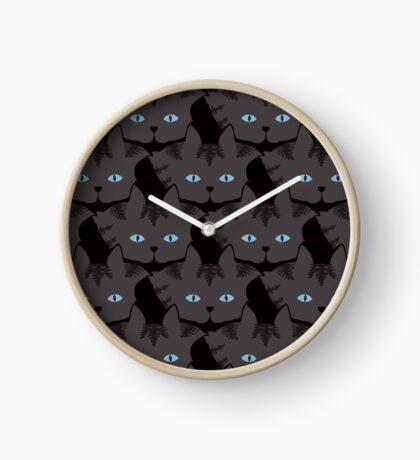 Grey #04  Tabby Cat Cattern [Cat Pattern] Clock