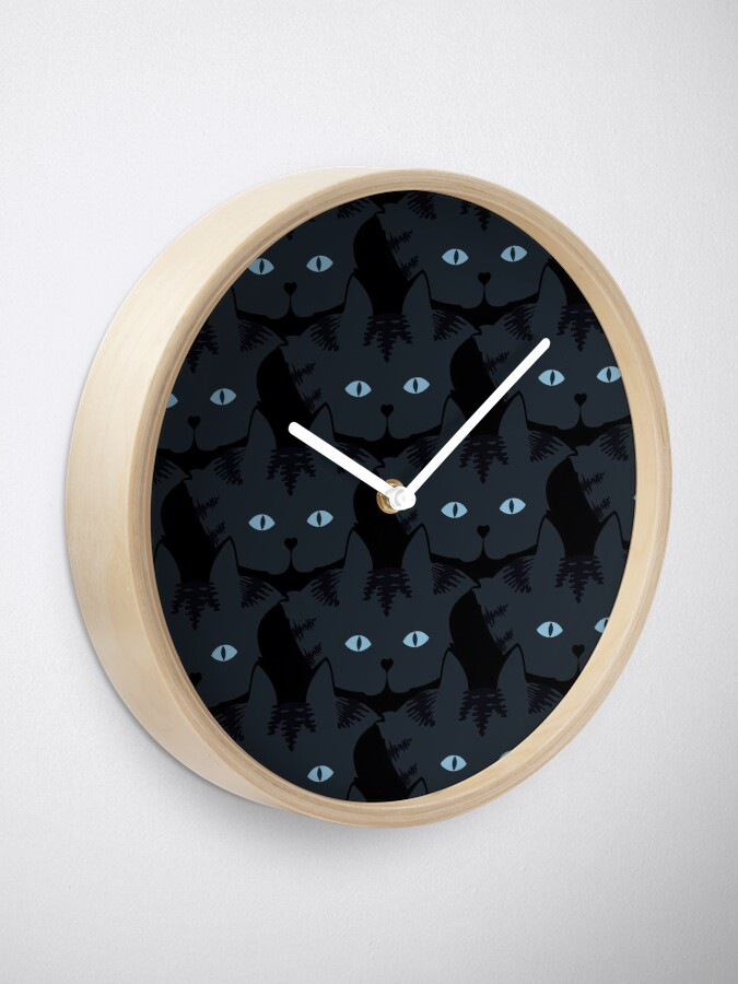 Alternate view of Grey #06  Tabby Cat Cattern [Cat Pattern] Clock