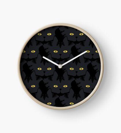 Black Tabby Cat Cattern [Cat Pattern] Clock
