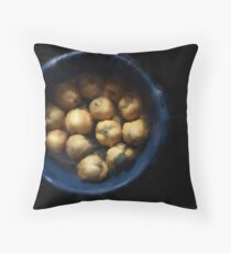 quince in a blue plastic bucket Throw Pillow