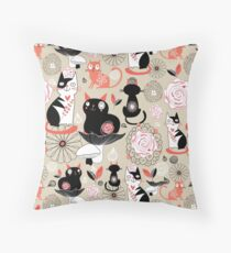 Floral pattern with cats Throw Pillow