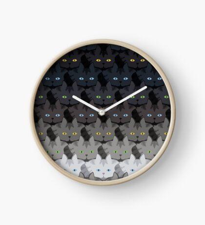 Grey Tabby Cat Horizontal Stripe Cattern [Cat Pattern] Clock