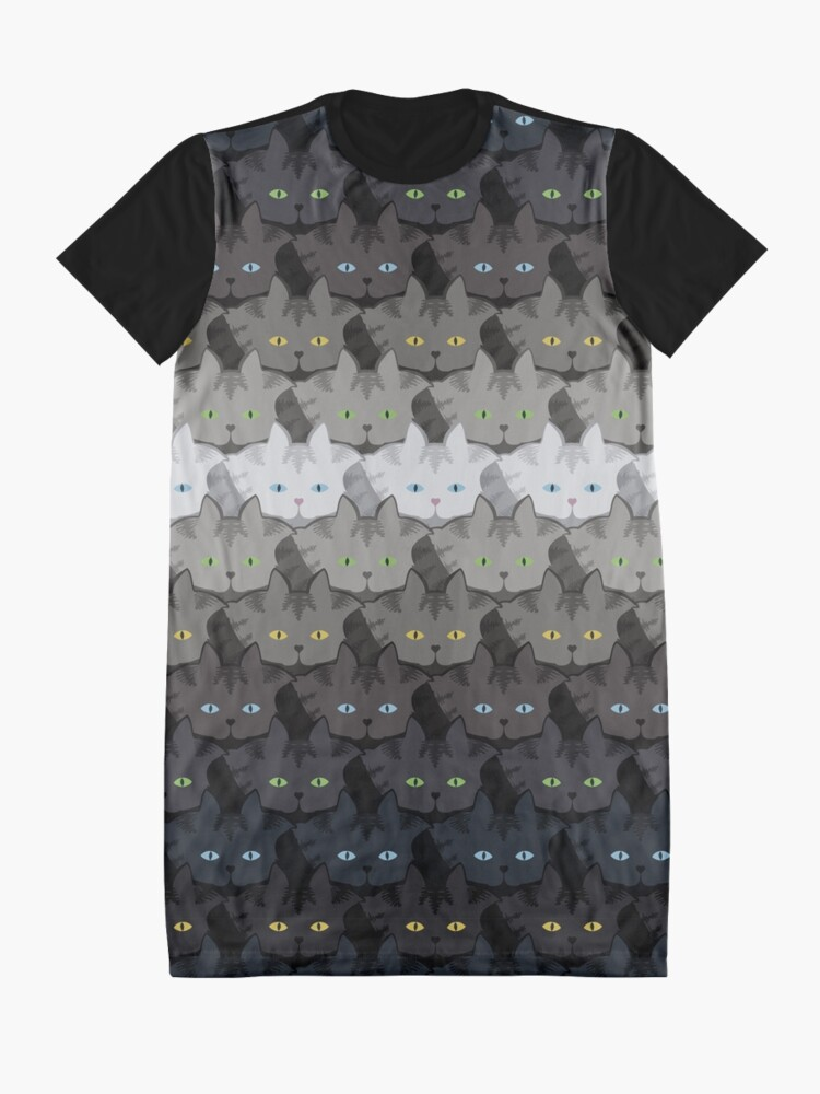 Alternate view of Grey Tabby Cat Horizontal Stripe Cattern [Cat Pattern] Graphic T-Shirt Dress