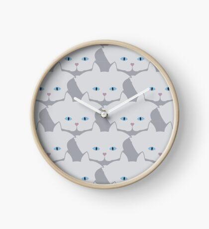 Light Grey #01 Cat Cattern [Cat Pattern] Clock