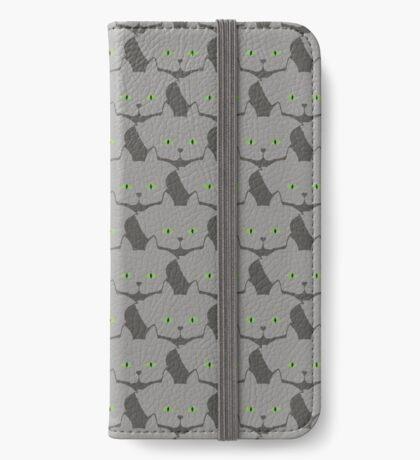 Grey #02 Cat Cattern [Cat Pattern] iPhone Wallet