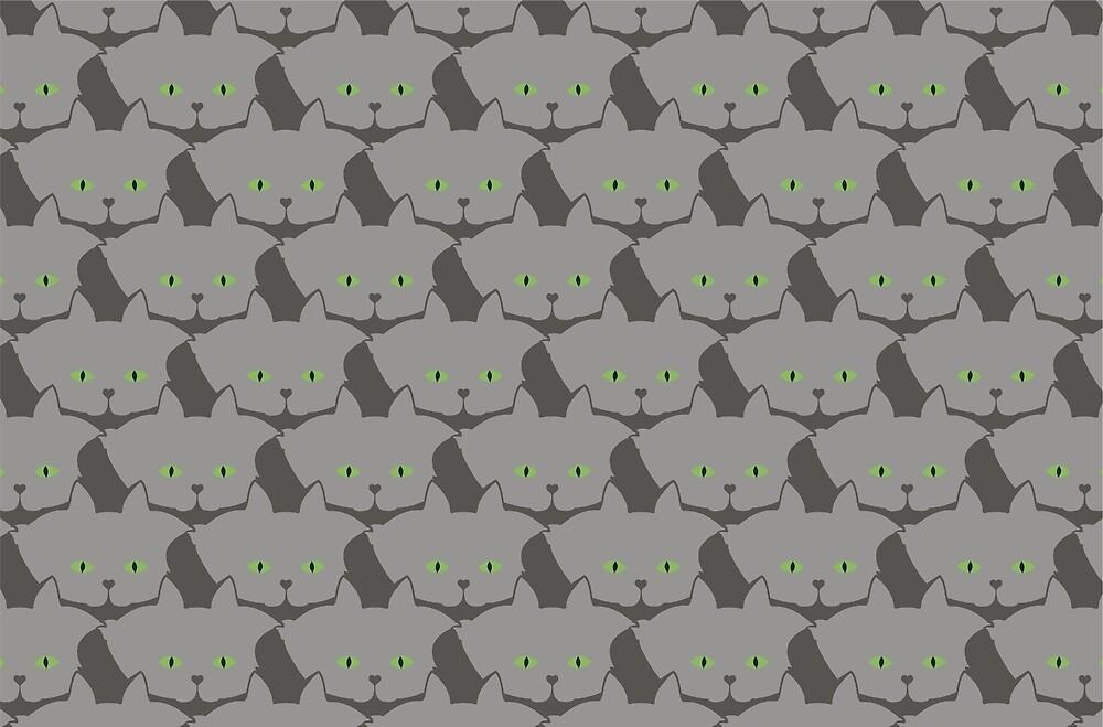 Grey #02 Cat Cattern [Cat Pattern] by Brent Pruitt