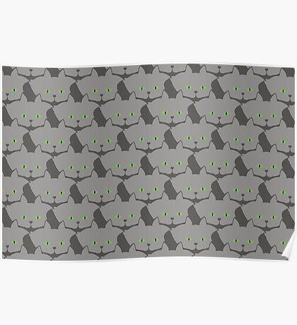 Grey #02 Cat Cattern [Cat Pattern] Poster