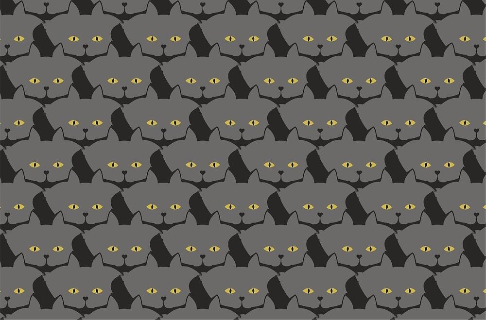 Grey #03 Cat Cattern [Cat Pattern] by Brent Pruitt