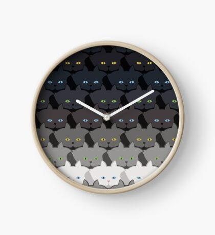 Grey Cat Horizontal Stripe Cattern [Cat Pattern] Clock