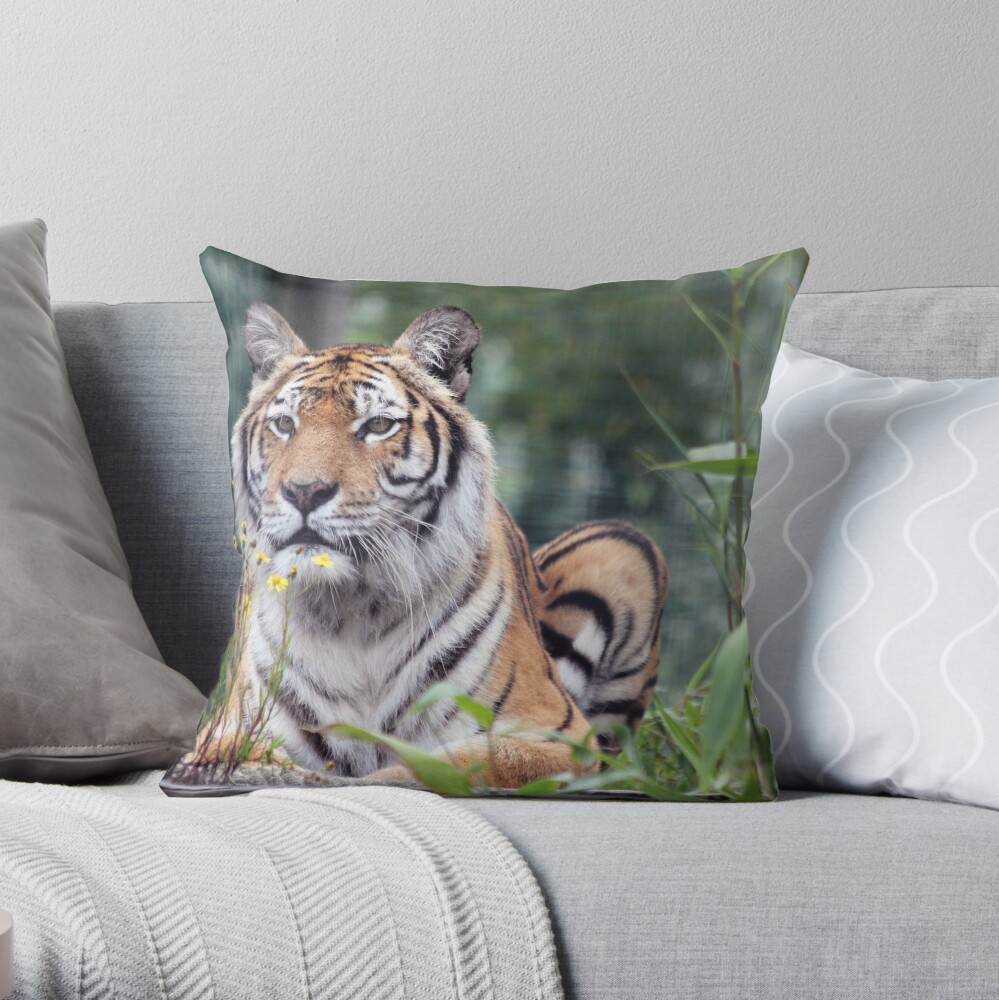 Island Tiger Throw Pillow
