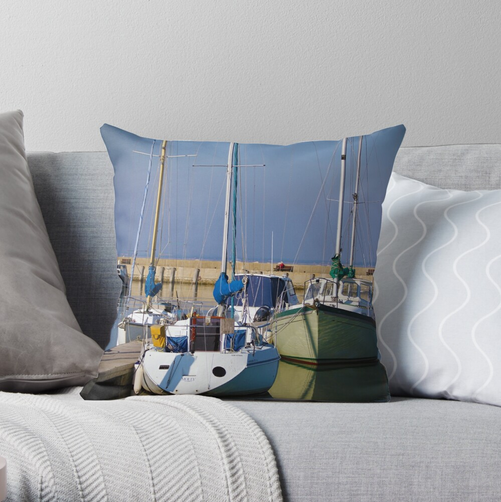 Yachts in the Bay Throw Pillow
