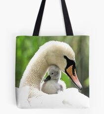 Mother and Baby Swan Tote Bag