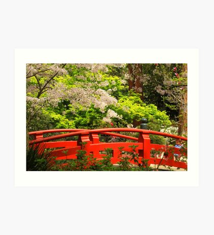Red Bridge Springtime Art Print