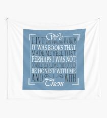 We Live and Breathe Words (Blue) Wall Tapestry