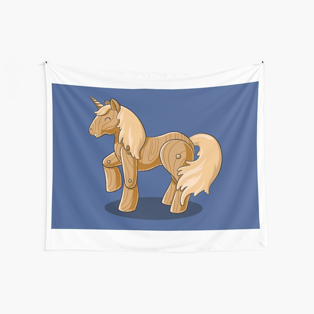 Unocchio the Wooden Unicorn Wall Tapestry
