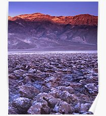 Dried up sea, arid desert with majestic mountain with golden Alpen glow Poster