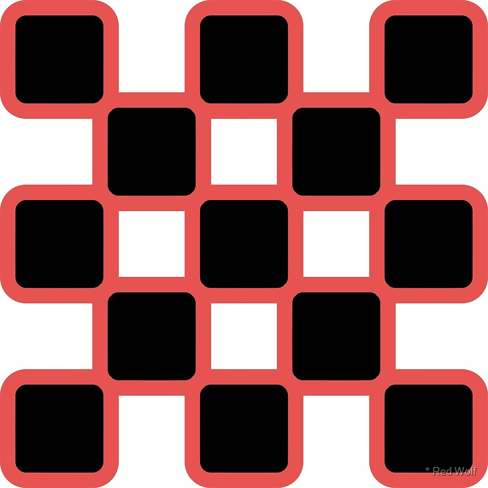 Geometric Pattern: Rounded Weave: Red/Black by * Red Wolf