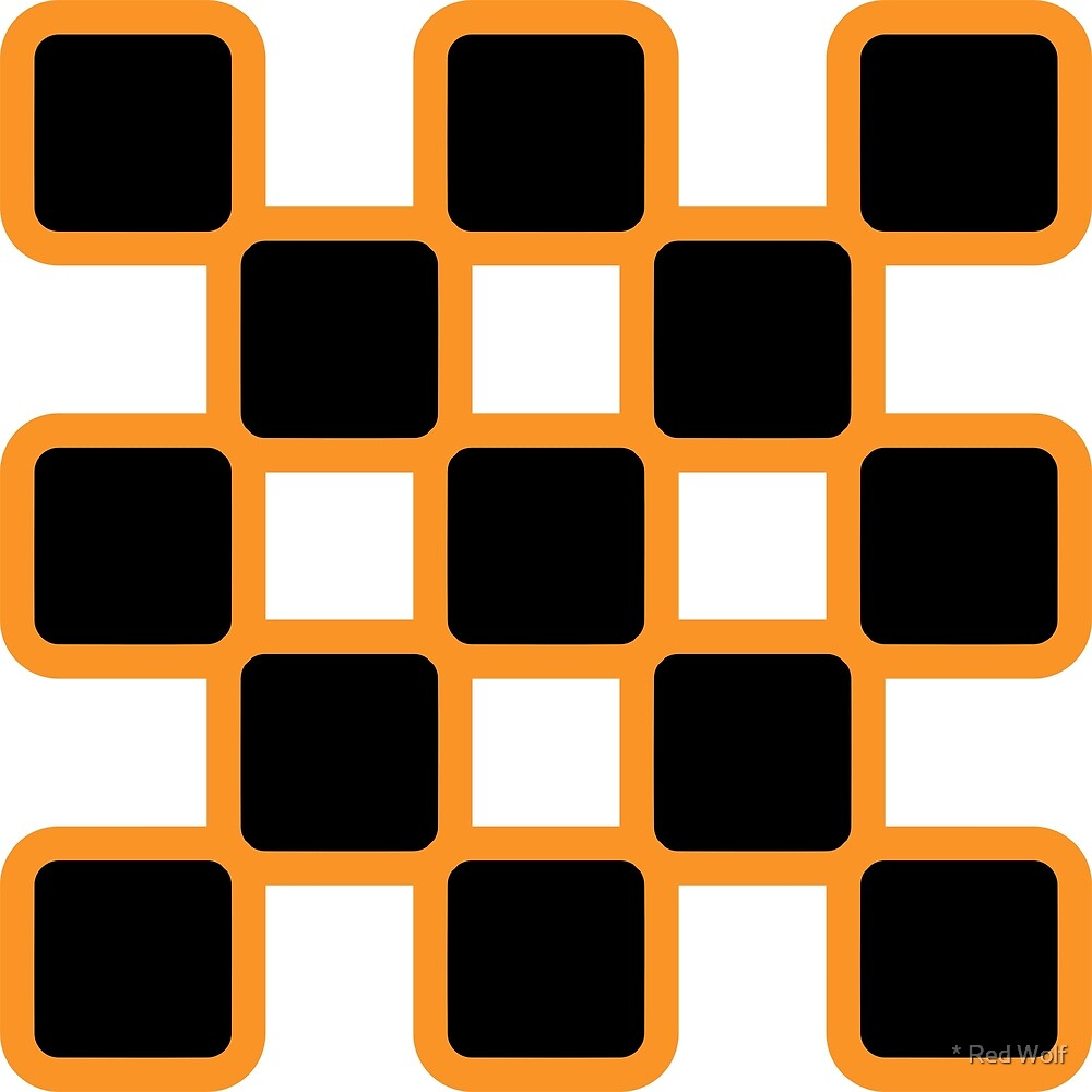 Geometric Pattern: Rounded Weave: Orange/Black by * Red Wolf