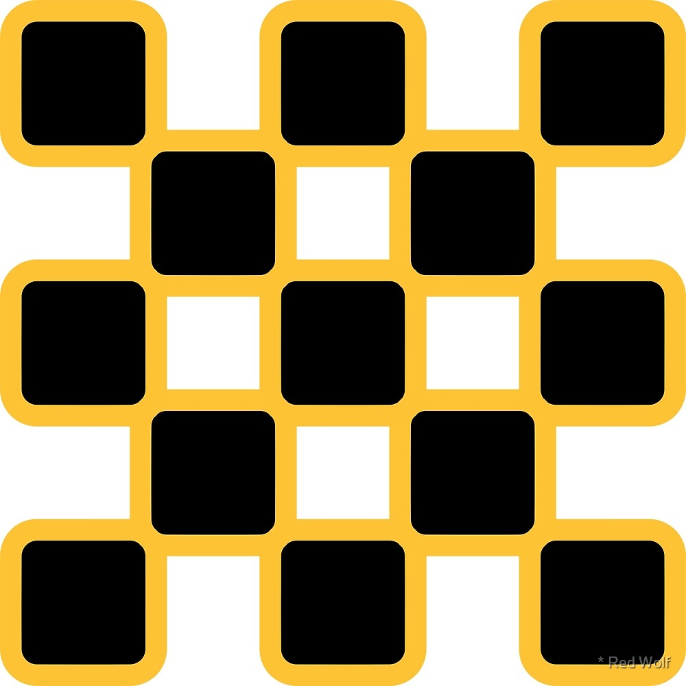 Geometric Pattern: Rounded Weave: Yellow/Black by * Red Wolf