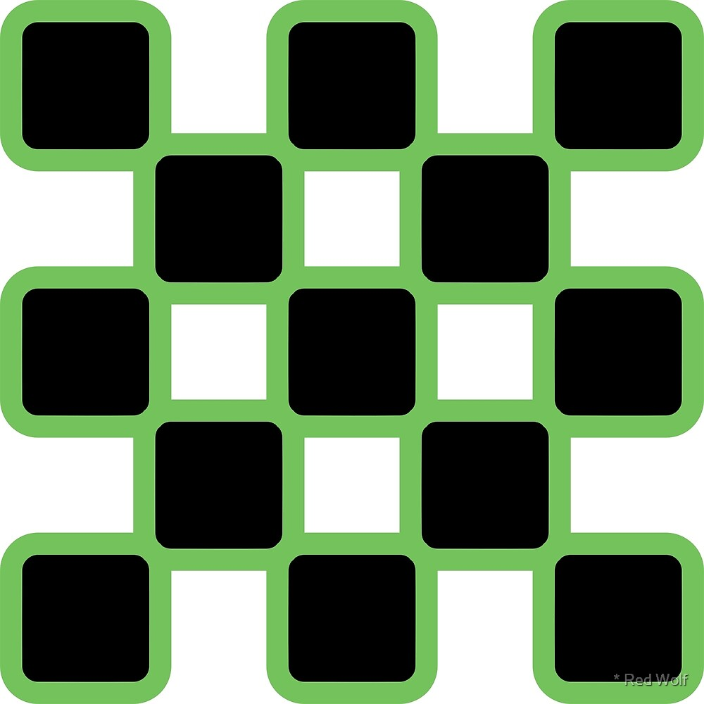 Geometric Pattern: Rounded Weave: Green/Black by * Red Wolf