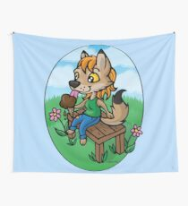 Summertime Treat - Coyote with Ice Cream Wall Tapestry