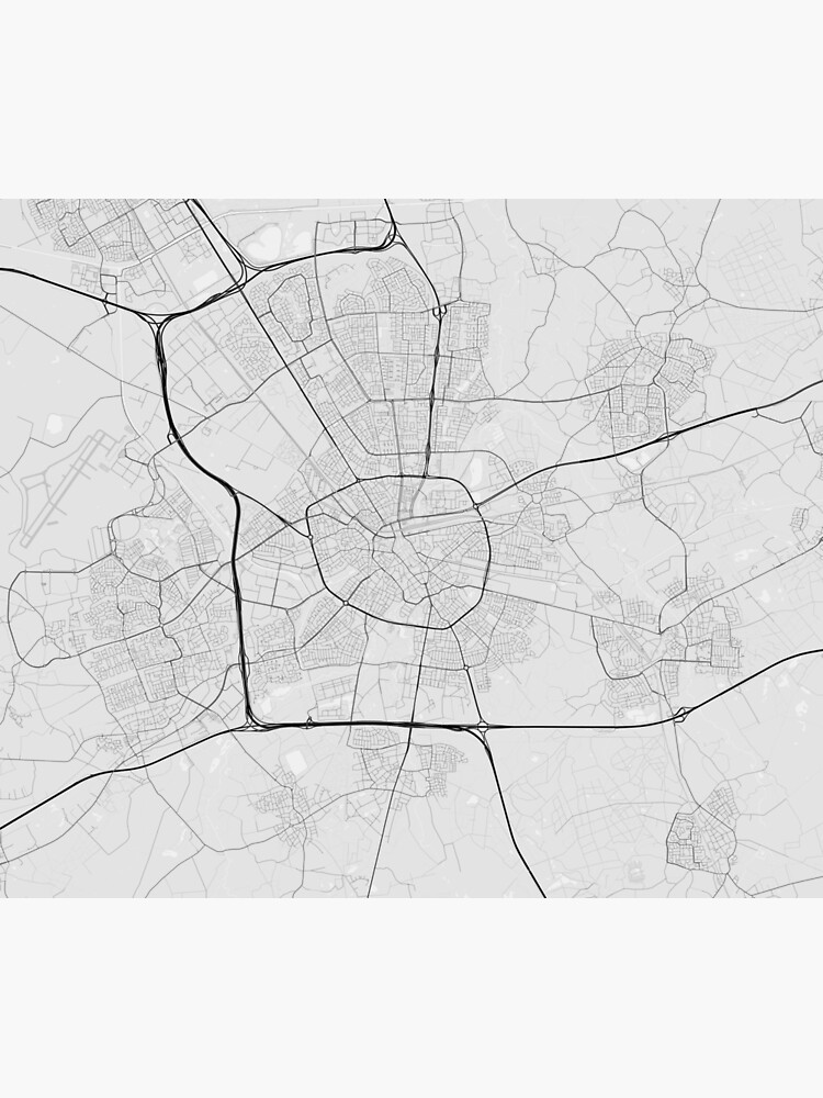 Eindhoven, Netherlands Map. (Black on white) | Wall Tapestry