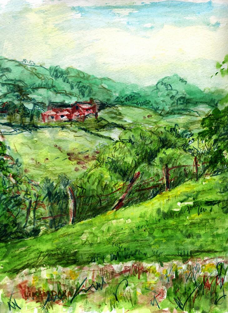 Spring Green original pencil and watercolor outdoor art by Linandara