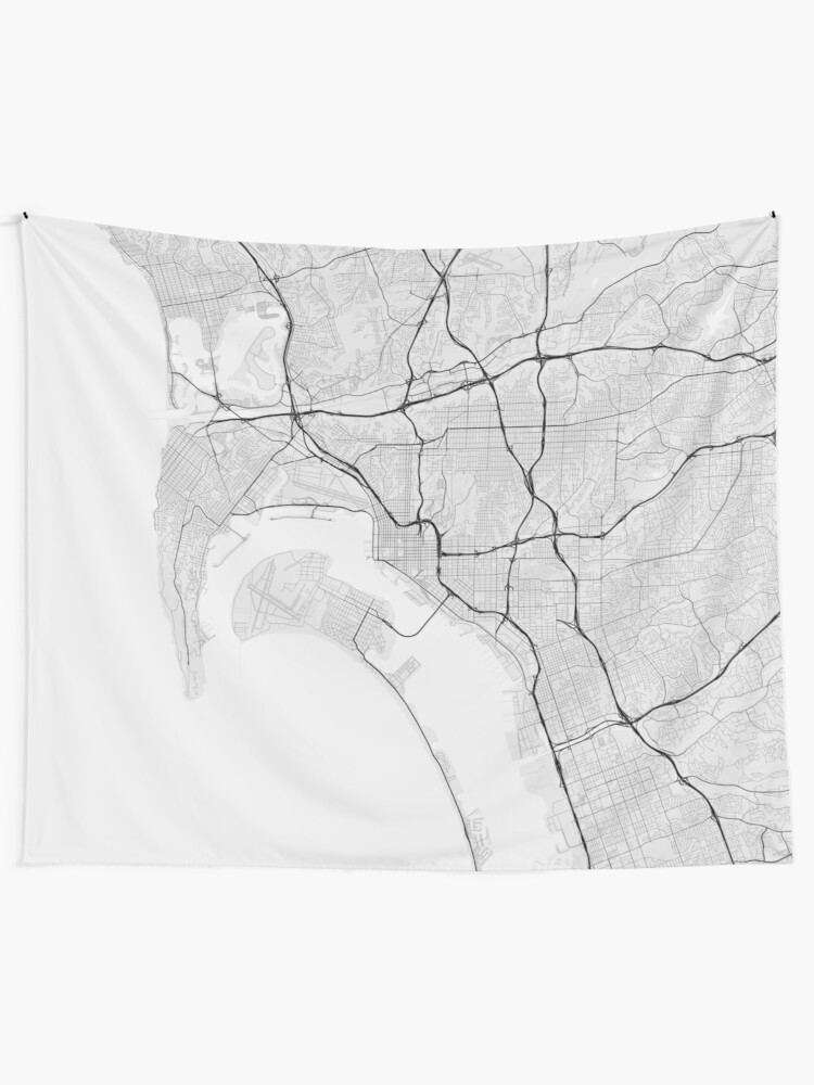San Diego, USA Map. (Black on white) | Wall Tapestry