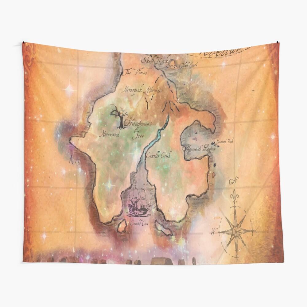 Mapa de Twin Size Neverland Tela decorativa