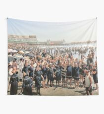 Hands up to the camera! on the beach at Atlantic CIty, NJ, 1905 Wall Tapestry