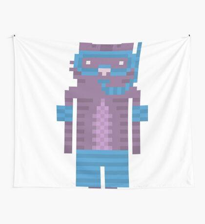 Snorkel Swimmer Cat Pixel Art Wall Tapestry