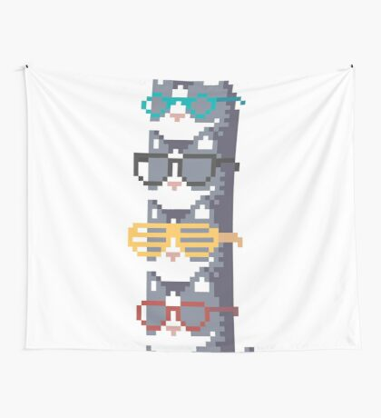 Cats In Glasses Pile Pixel Art Wall Tapestry