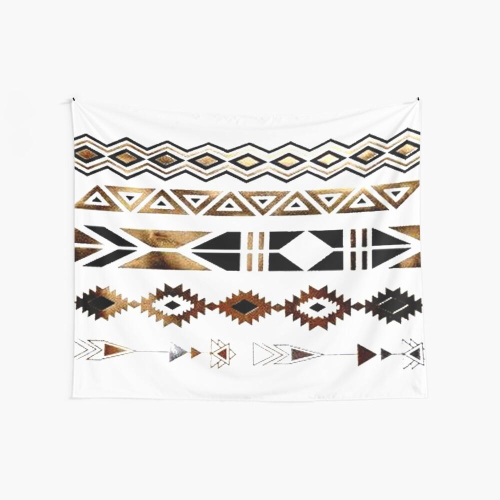 Tribal Aztec Gold y Black Design Tela decorativa