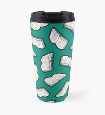 Bookish Reading Pattern in Jade Travel Mug