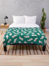 Bookish Reading Pattern in Jade Throw Blanket