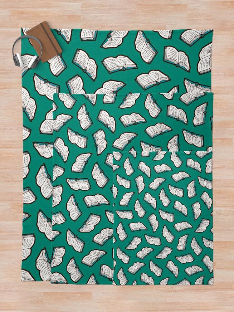 Alternate view of Bookish Reading Pattern in Jade Throw Blanket