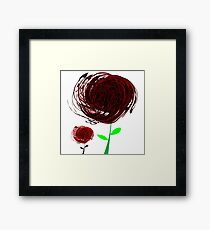 Black-red abstract flowers Framed Print