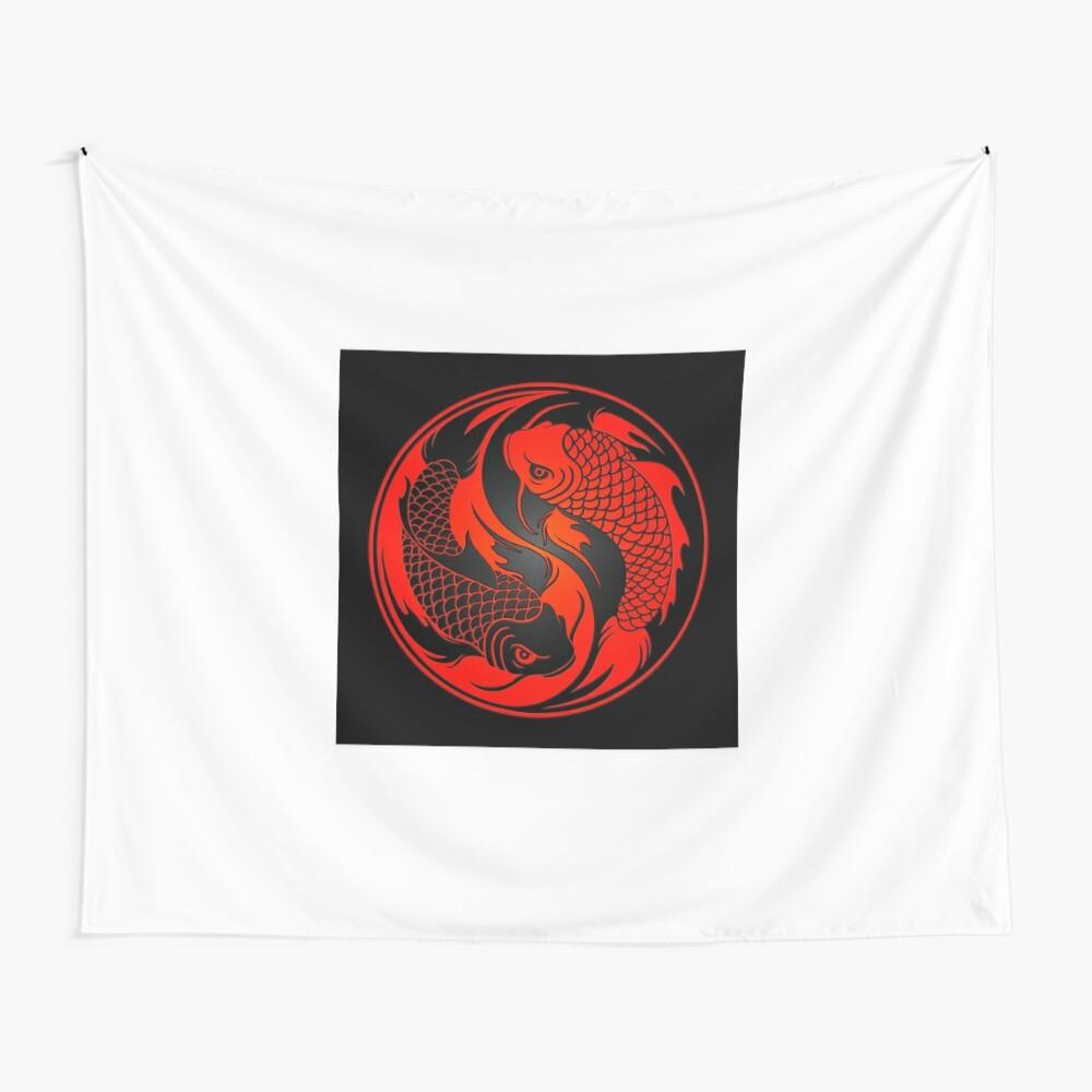 Red and Black Yin Yang Koi Fish Wall Tapestry