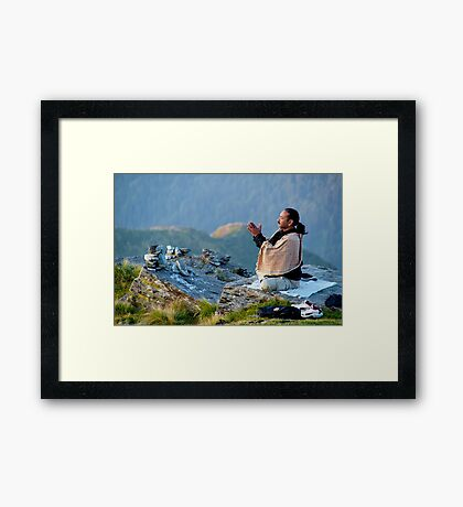 Surya Namaskar at Chandrashila (Altitude 14000 feet) Framed Print