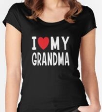 I Love My Grandma Family Love Heart Gift Women's Fitted Scoop T-Shirt