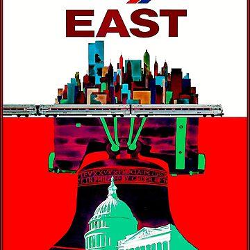 AMTRAK: Vintage East Railway Travel System Werbedruck von posterbobs