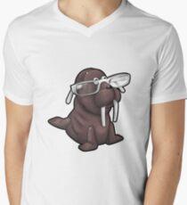 Walrus with Eyeglasses Men's V-Neck T-Shirt