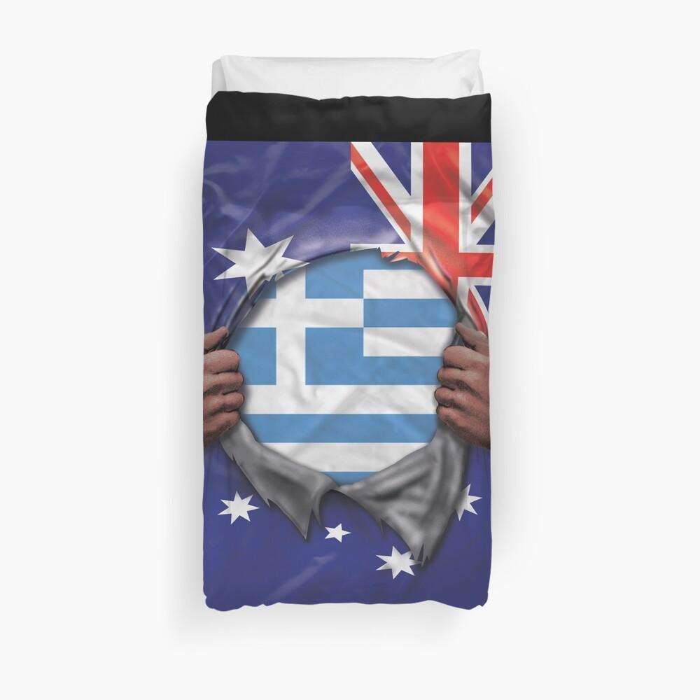 Greece Flag Australian Flag Ripped - Gift For Greek From Greece Funda nórdica