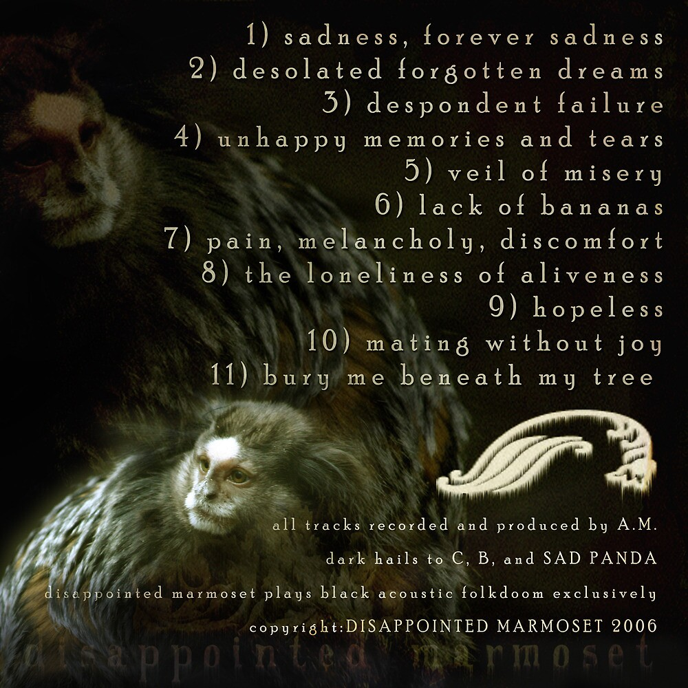 DISAPPOINTED MARMOSET - The Inevitable Failure of Existence (track listing)... by IWML