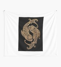 Rustic Pisces Zodiac Sign on Black Tapestry