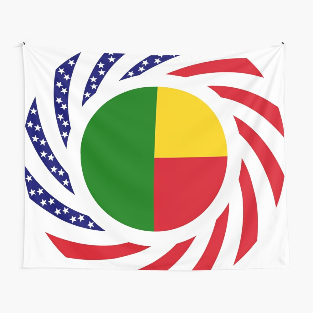 Benin American Multinational Patriot Flag Series Wall Tapestry