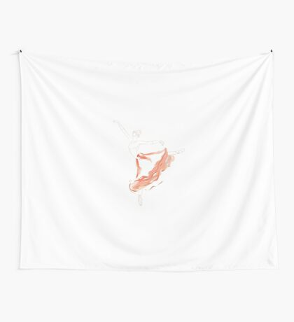 Ballet Dancer in Long Red Tutu Skirt Wall Tapestry