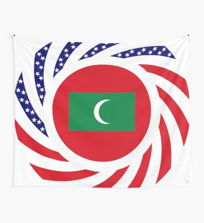 Maldivan American Multinational Patriot Flag Series Wall Tapestry